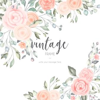 Cartão floral romântico com elementos em aquarela