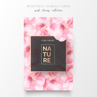 Cartão floral romântico com flores rosa suaves