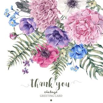 Cartão floral vintage com anêmonas