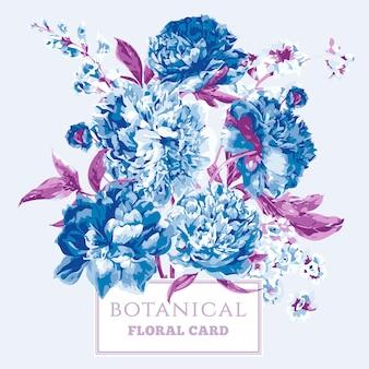 Cartão floral vintage com peônias florescendo