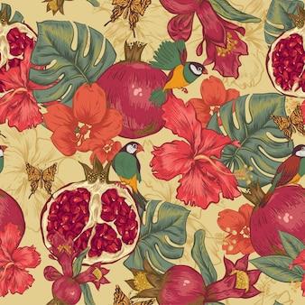 Cartão floral vintage com rosas e flores silvestres
