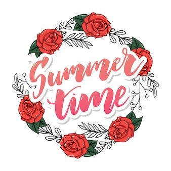 Cartão floral vintage de verão com hortênsia florescendo e flores no jardim