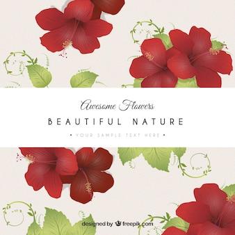 Cartão flores vermelhas