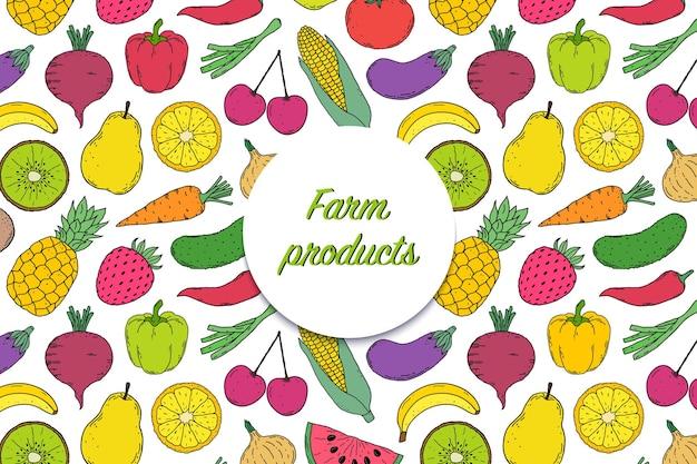 Cartão, flyer com legumes e frutas estilo desenhado na mão.