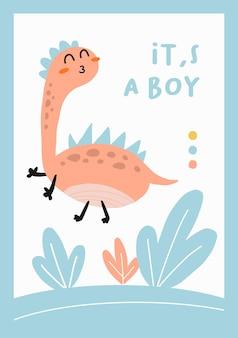 Cartão fofinho diosaurs é um menino