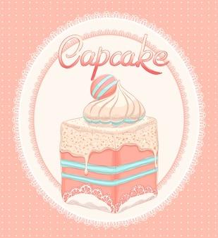 Cartão fofo com bolo rosa sobre fundo oval de renda branca