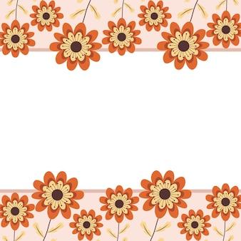 Cartão fofo com moldura floral Vetor Premium