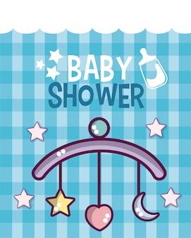Cartão fofo de chuveiro de bebê com desenhos animados