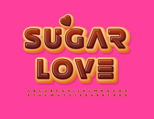 Cartão fofo de vetor açúcar amor chocolate vitrificado fonte doce rosquinha alfabeto letras e números