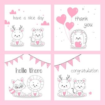 Cartão fofo doodle rosa