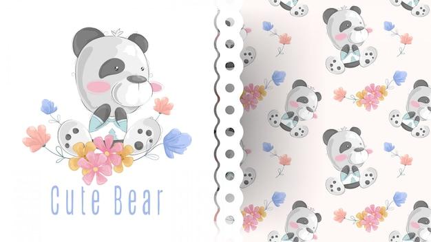 Cartão fofo urso de pelúcia com padrão