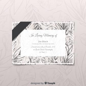 Cartão funeral moderno com estilo elegante