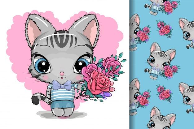 Cartão gatinho fofo com flores