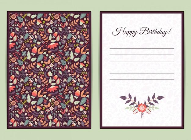 Cartão gentil fofo com padrão floral