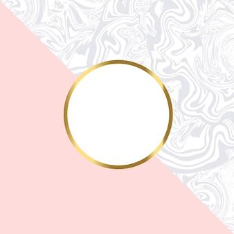 Cartão geométrico rosa e mármore com moldura de ouro
