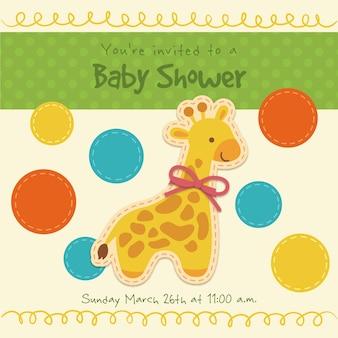 Cartão girraffe bebê com círculos coloridos