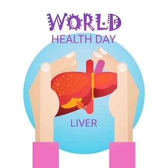 Cartão global da bandeira do feriado do dia do mundo da saúde do fígado da posse da mão