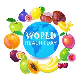 Cartão global do feriado do dia do mundo da saúde do planeta da terra