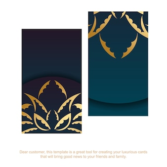 Cartão gradiente azul com padrão de mandala de ouro para a sua marca.