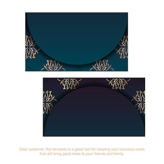 Cartão gradiente azul com padrão de mandala de ouro para o seu negócio.
