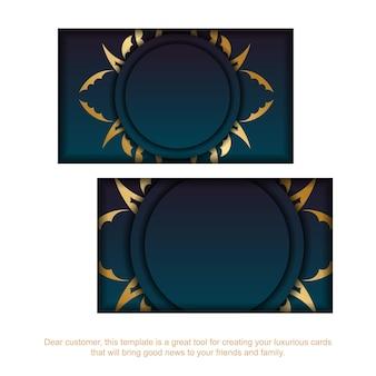 Cartão gradiente azul com padrão de mandala ouro para seus contatos.