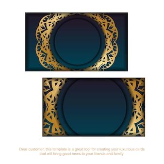 Cartão gradiente azul com padrão vintage ouro para a sua marca.