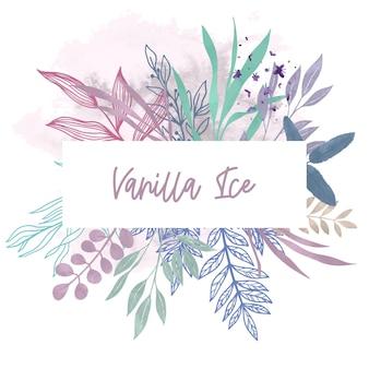 Cartão horizontal com elementos florais em tons pastel