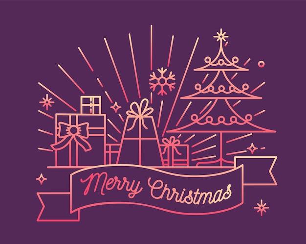 Cartão horizontal ou modelo de cartão postal com desejo de feliz natal na fita, abeto decorado e presentes festivos