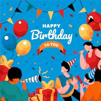 Cartão ilustrado de feliz aniversário