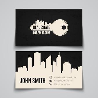 Cartão imobiliário com logotipo de chave simples