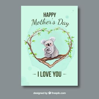 Cartão impressionante com coalas para o dia da mãe