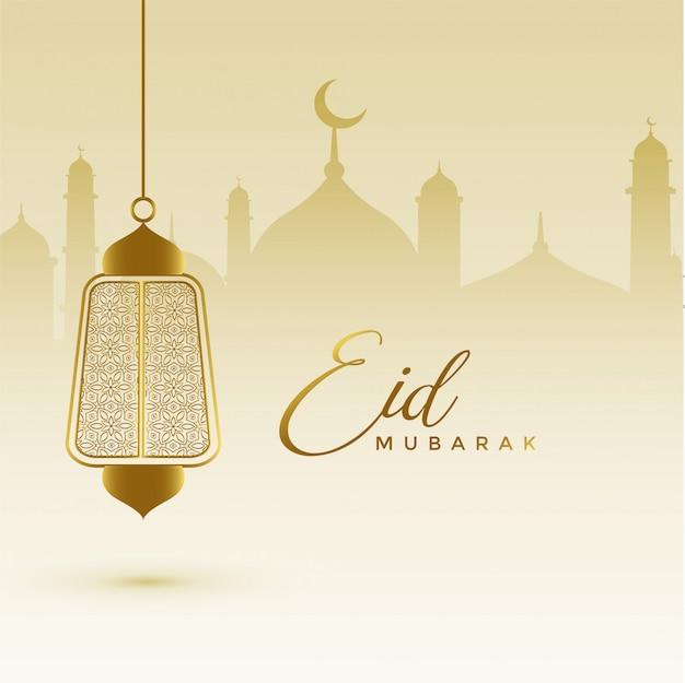 Cartão impressionante do festival do eid com lâmpada de suspensão