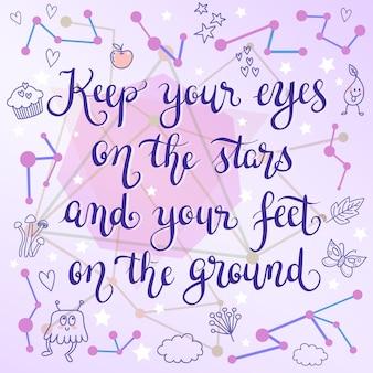 Cartão inspirador da tipografia do doodle da estrela