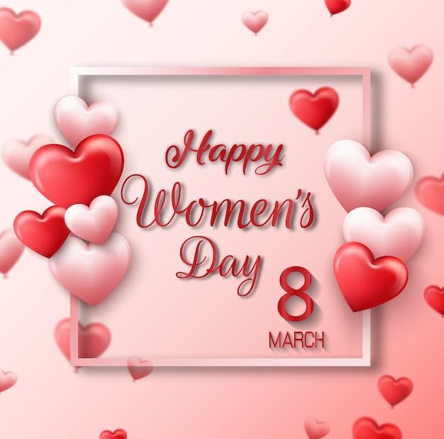 Cartão internacional do dia das mulheres felizes