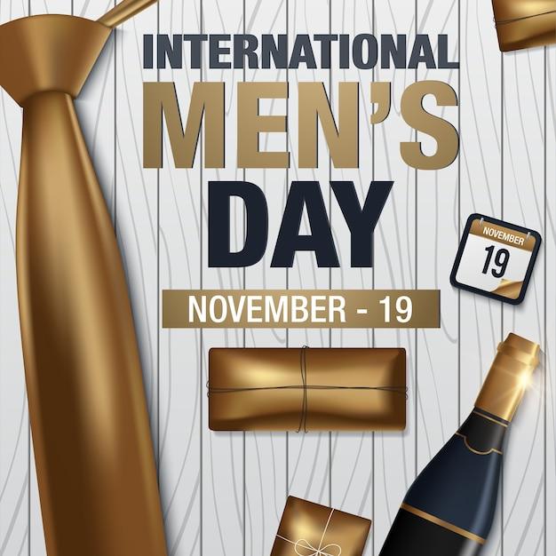 Cartão internacional do vetor do dia dos homens