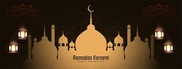 Cartão islâmico do festival ramadan kareem com mesquita