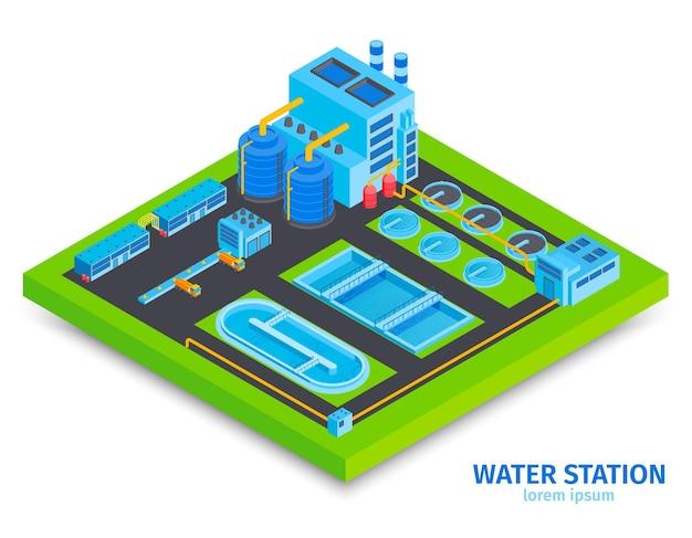 Cartão isométrico de estação de água