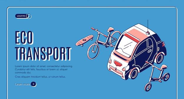 Cartão isométrico de transporte ecológico