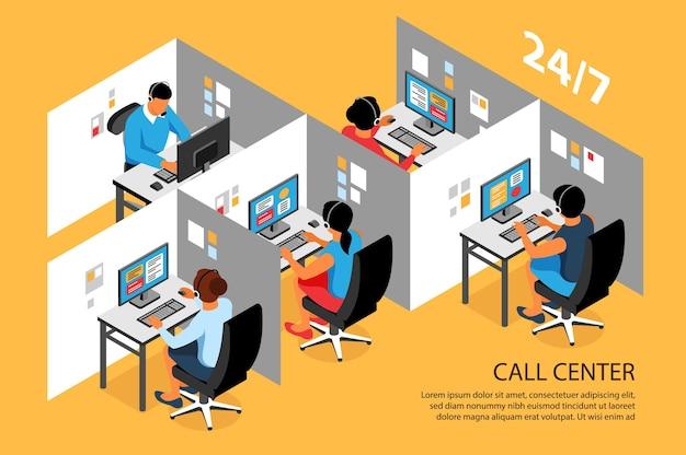 Cartão isométrico do interior do call center