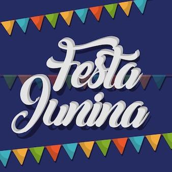 Cartão junina de festa com bandeirolas decorativas