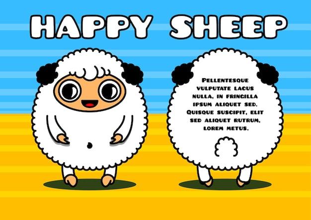 Cartão kawaii com personagens ovelhas