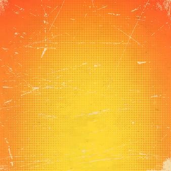 Cartão laranja antigo riscado com gradiente de meio-tom