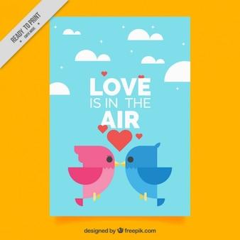 Cartão liso com pássaros geométricos para dia dos namorados