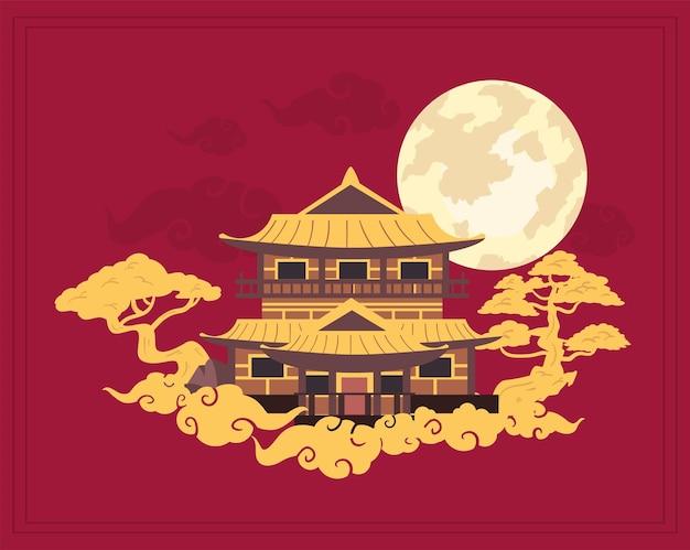 Cartão lunar chinês com templo