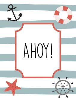 Cartão marinho em um fundo listrado cartaz do oceano com um volante, um bóia salva-vidas e uma âncora