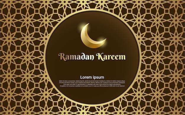 Cartão marrom ramadan kareem com moldura de ouro linha