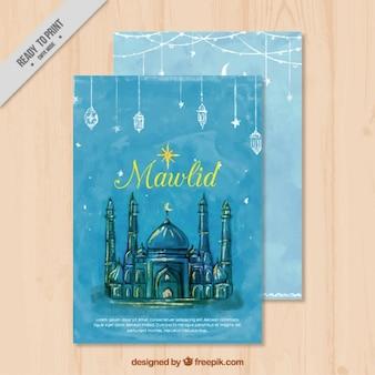Cartão mawlid aguarela com bela mesquita