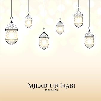 Cartão milad un nabi com design de decoração de lâmpadas