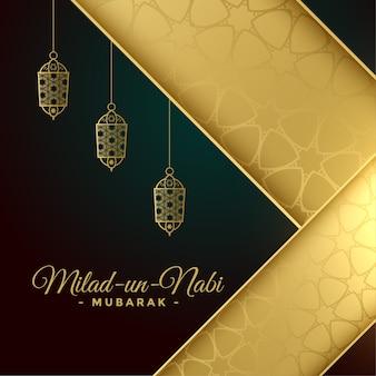 Cartão milad un nabi em cores douradas