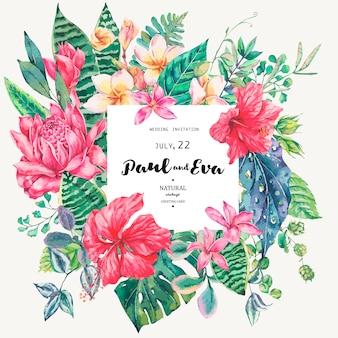 Cartão modelo de flores tropicais e folhas
